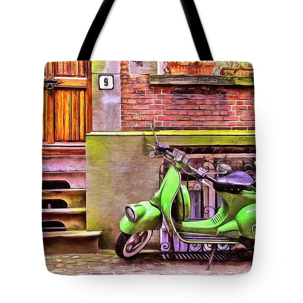 Tote Bag featuring the painting Scooter Parking Only by Edward Fielding