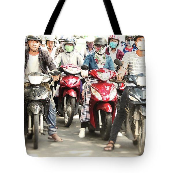 Tote Bag featuring the photograph Scooter Traffic by Gregg Cestaro