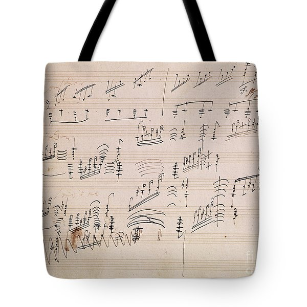 Score Sheet Of Moonlight Sonata Tote Bag by Ludwig van Beethoven
