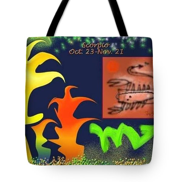 Tote Bag featuring the digital art Scorpio by The Art of Alice Terrill
