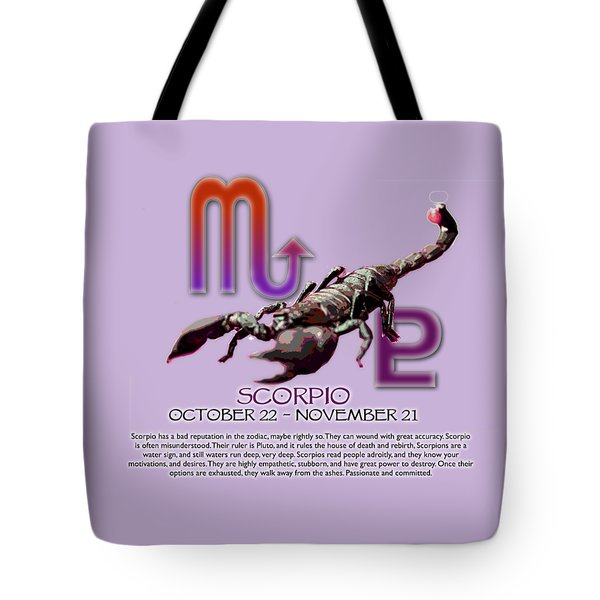 Scorpio Sun Sign Tote Bag