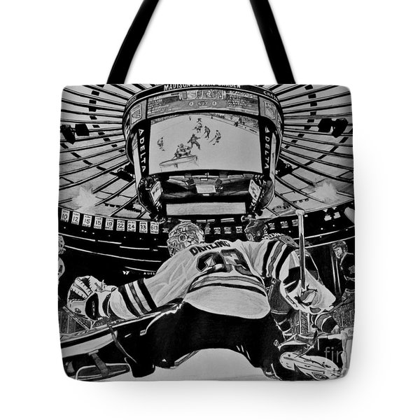 Tote Bag featuring the drawing Scott Darling - First Nhl Shutout by Melissa Goodrich