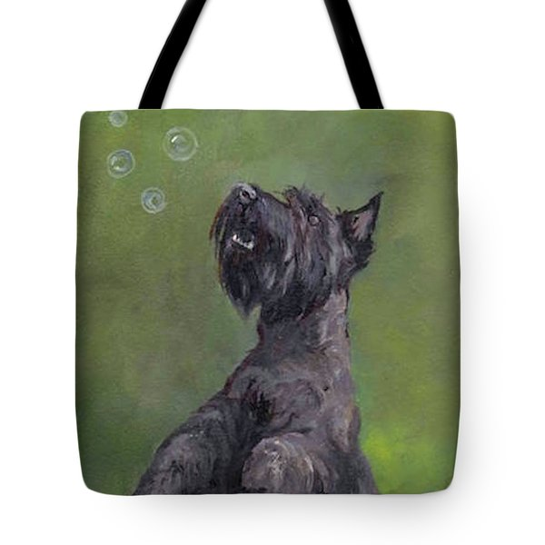 Scottie Likes Bubbles Tote Bag by Charlotte Yealey