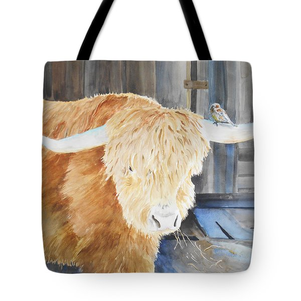 Scottish Highland And Friend Tote Bag by Christine Lathrop