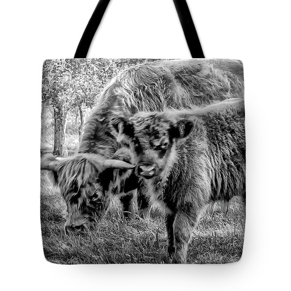 Scottish Highland Cattle Black And White Tote Bag