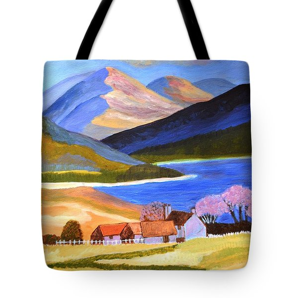 Tote Bag featuring the painting Scottish Highlands 2 by Magdalena Frohnsdorff