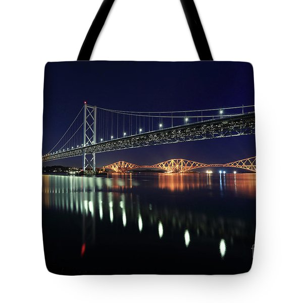 Scottish Steel In Silver And Gold Lights Across The Firth Of Forth At Night Tote Bag