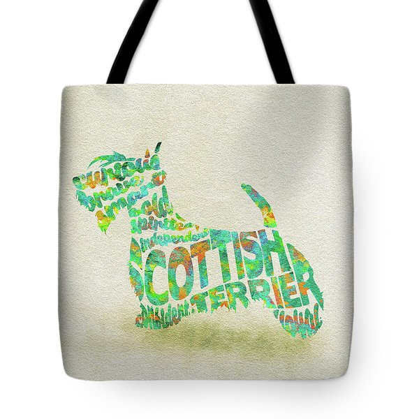 Tote Bag featuring the painting Scottish Terrier Dog Watercolor Painting / Typographic Art by Inspirowl Design