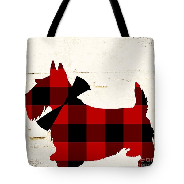 Scottish Terrier Tartan Plaid Tote Bag