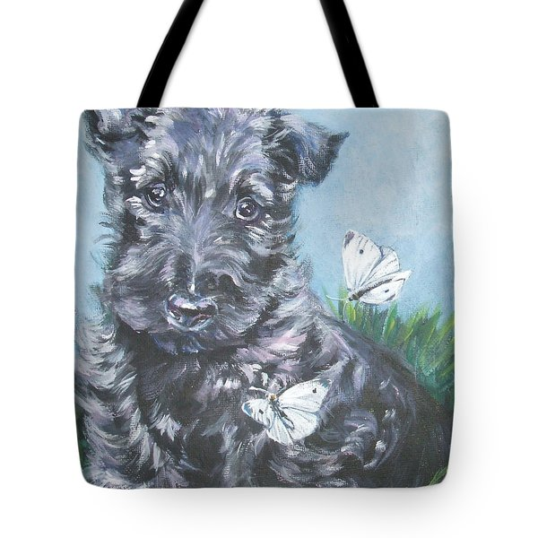 Scottish Terrier With Butterflies Tote Bag by Lee Ann Shepard