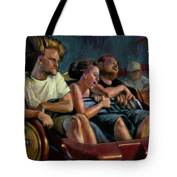 Tote Bag featuring the painting Scrambled by Lesley Spanos