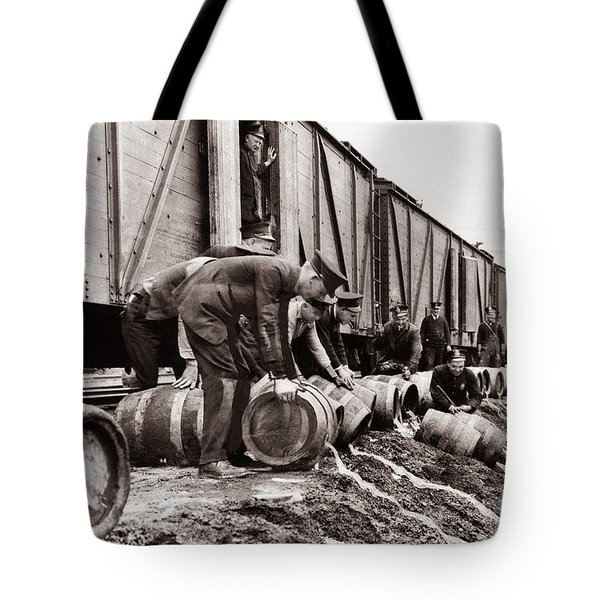 Scranton Police Dumping Beer During Prohibition  Scranton Pa 1920 To 1933 Tote Bag