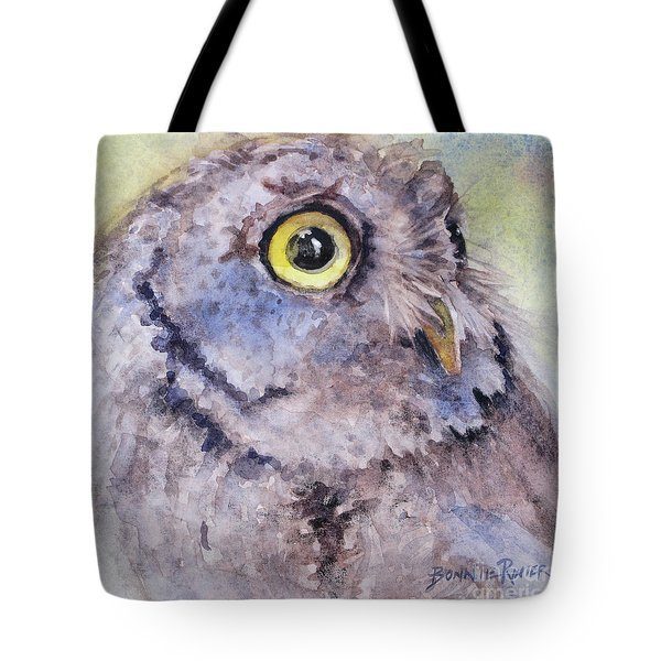 Tote Bag featuring the painting Screech Owl by Bonnie Rinier