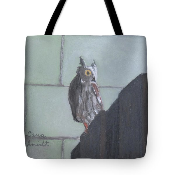 Screech Owl On Gate To Pergola Tote Bag