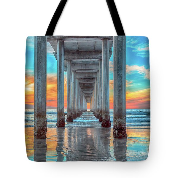 Scripps At Sunset Vertical Tote Bag
