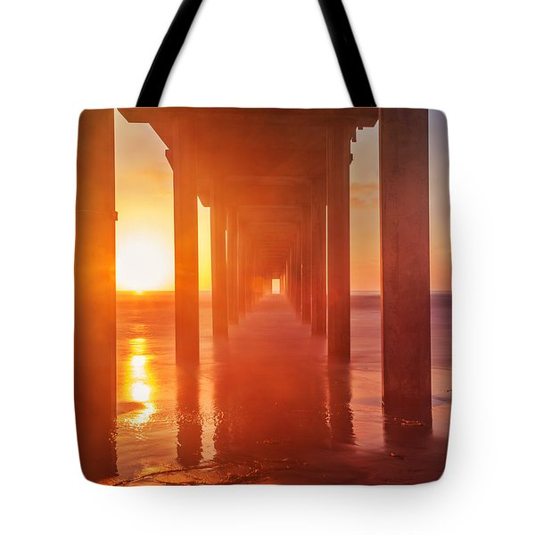 Scripps Pier Sunset Tote Bag