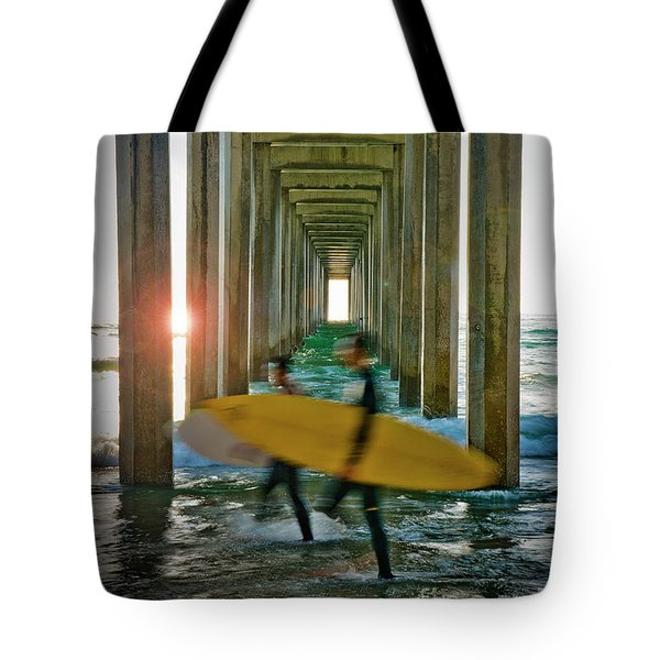 Scripps Pier Surfers Tote Bag
