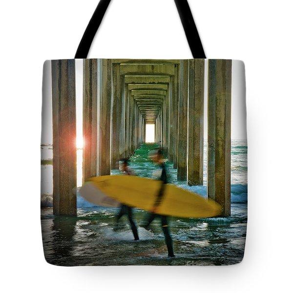 Scripps Pier Surfers Tote Bag