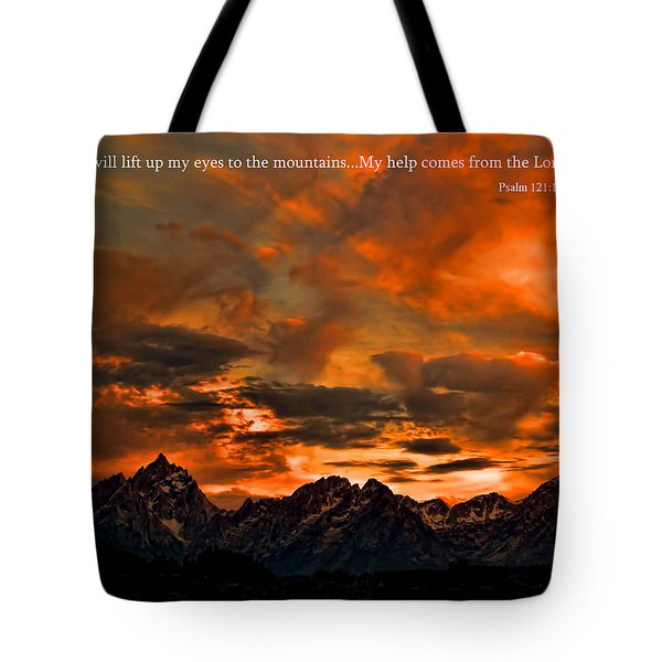 Scripture And Picture Psalm 121 1 2 Tote Bag