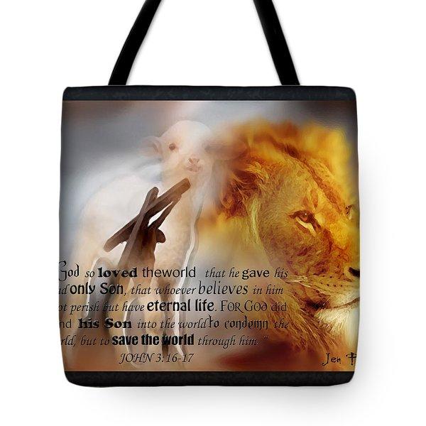 Scripture Art    Lamb Of God Tote Bag