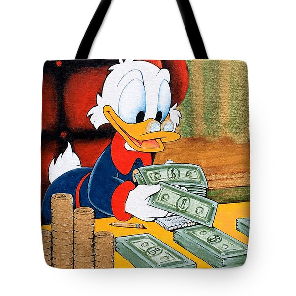 Scrooge Mcduck Counting Money Tote Bag