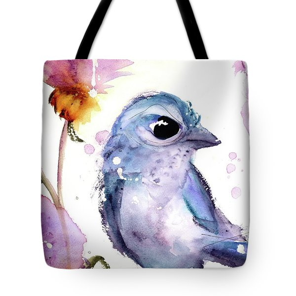 Tote Bag featuring the painting Scrub Jay In The Wildflowers by Dawn Derman