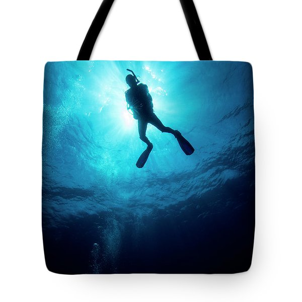Tote Bag featuring the photograph Scuba-diving by Rico Besserdich