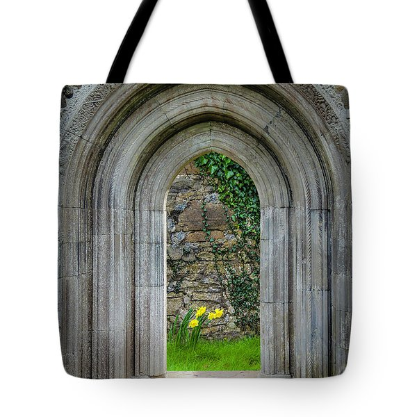 Tote Bag featuring the photograph Sculpted Portal To Irish Spring Garden by James Truett