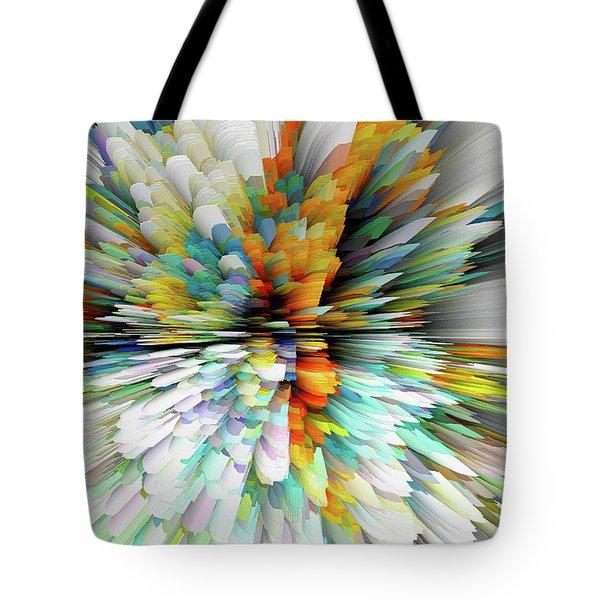 Tote Bag featuring the digital art Sculptural Series Painting23.102011windblastsccvsext4100l by Kris Haas