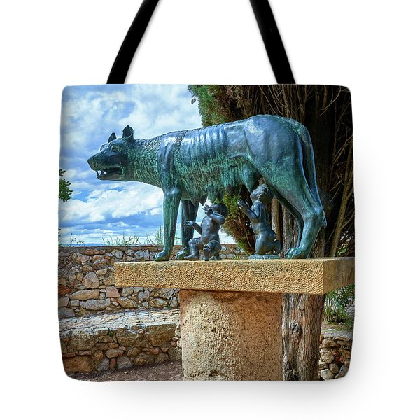 Tote Bag featuring the photograph Sculpture Of The Capitoline Wolf With Romulus And Remus by Eduardo Jose Accorinti