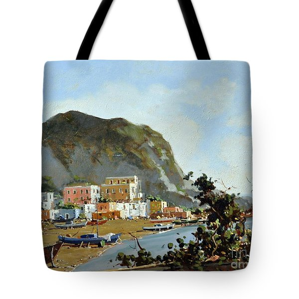 Sea And Mountain With Boats Tote Bag