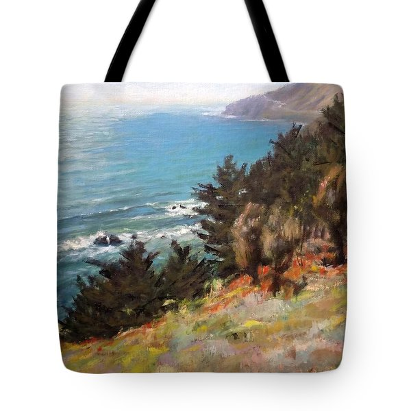 Sea And Pines Near Ragged Point, California Tote Bag