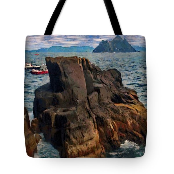 Tote Bag featuring the painting Sea And Stone by Jeff Kolker