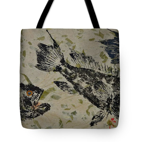 Sea Bass School On Olive Mango Paper  Tote Bag