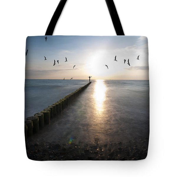 Sea Birds Sunset. Tote Bag by Nathan Wright