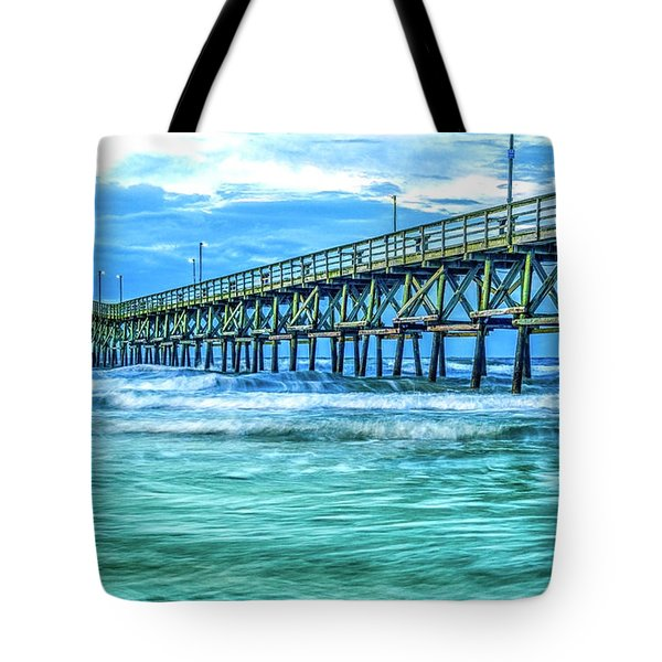 Sea Blue Cherry Grove Pier Tote Bag