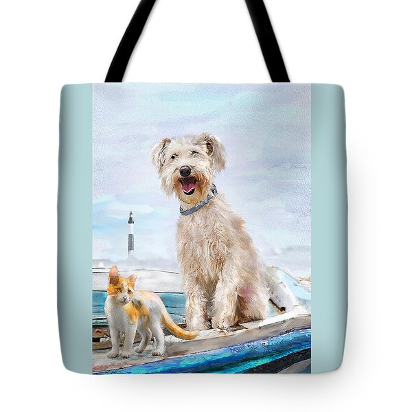 Tote Bag featuring the digital art Sea Dog And Cat by Jane Schnetlage