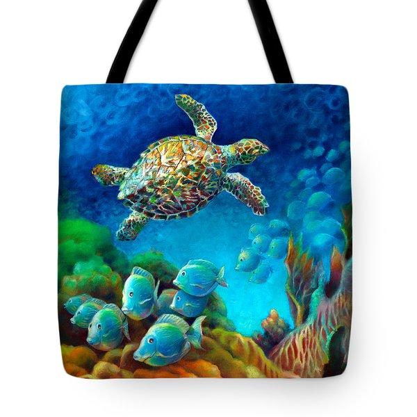 Sea Escape IIi - Gemstone Hawksbill Turtle Tote Bag