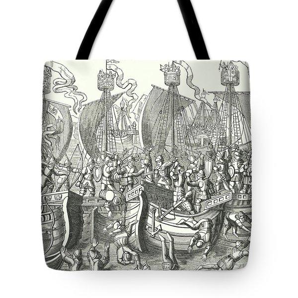 Sea Fight Off La Rochelle Tote Bag