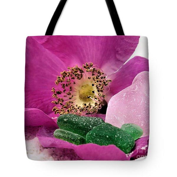 Sea Glass And Beach Rose Tote Bag