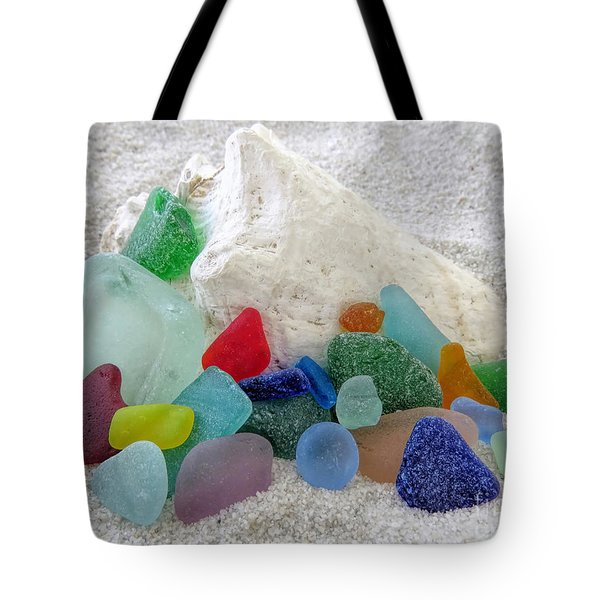 Sea Glass And Conch Tote Bag