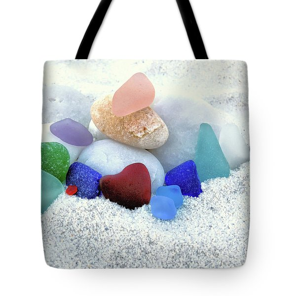 Sea Glass And White Beach Rocks  Tote Bag