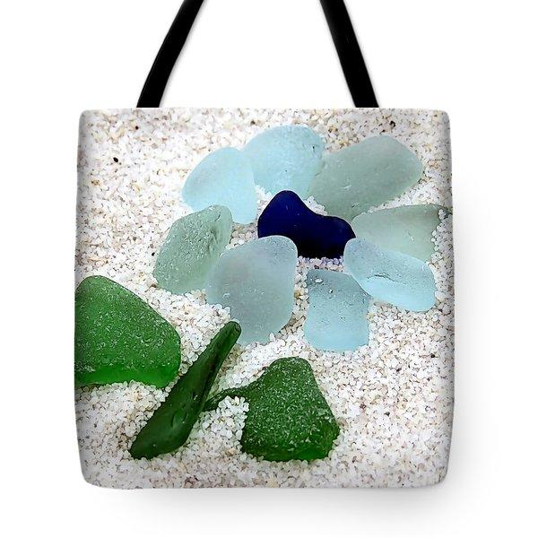 Sea Glass Floral Tote Bag