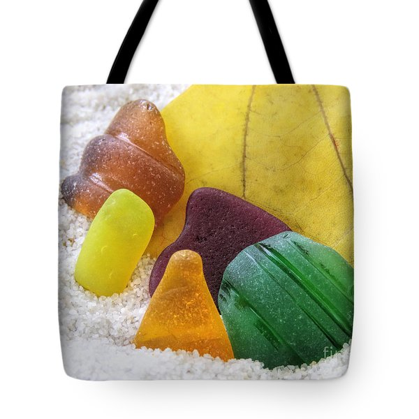 Sea Glass In Fall Colors Tote Bag