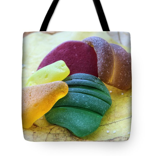 Sea Glass In Foliage Colors Tote Bag