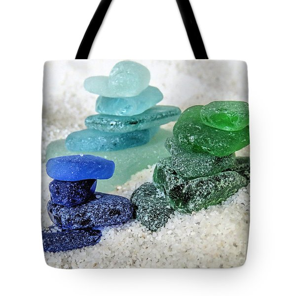 Sea Glass Stacks Tote Bag