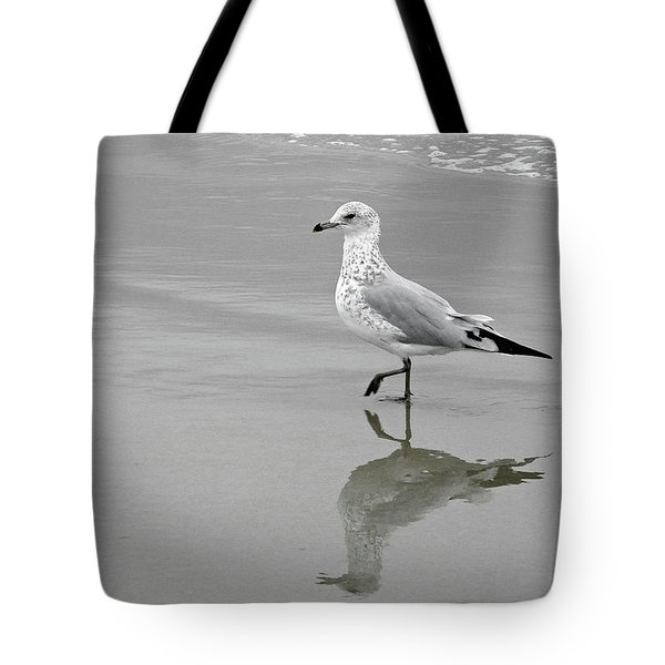 Tote Bag featuring the photograph Sea Gull Walking In Surf by Wayne Marshall Chase
