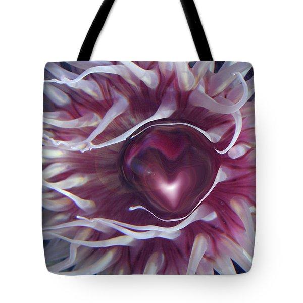 Tote Bag featuring the digital art Sea Heart by Linda Sannuti