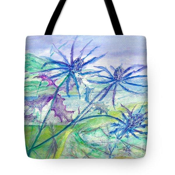 Sea Holly Tote Bag by Veronica Rickard
