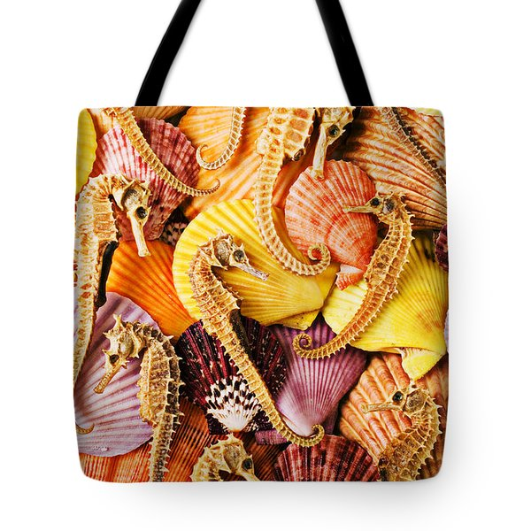 Sea Horses And Sea Shells Tote Bag